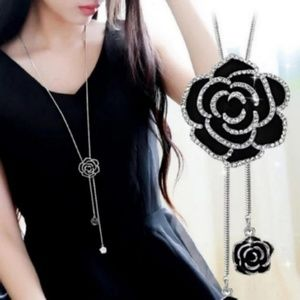Black Rose Flower Long Necklace NEW